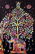 Kayso Tree of Life Psychedelic Wall Hanging Elephant Tapestry; Multi/black; New