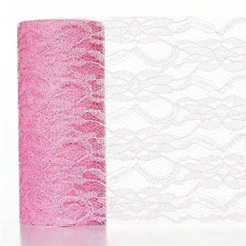 "6"" x 30 ft Glittered LACE Fabric Bolt Pattern Design DIY Crafts Sewing Favors (Pink)"