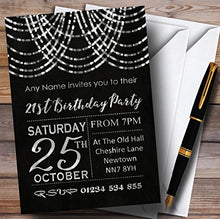 Silver Draped Garland 21st Personalized Birthday Party Invitations