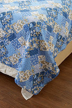 3pc Floral Blue Patchwork Quilt Set   Style # 1048   Full/Queen   Cherry Hill Collection