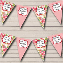 Green Pink Floral Shabby Chic Personalized Engagement Party Bunting Banner