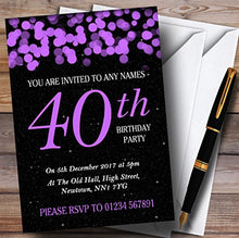 Purple Bokeh & Stars 40th Personalized Birthday Party Invitations