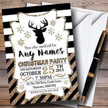Bronze Stripes Personalized Christmas/New Year/Holiday Party Invitations