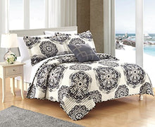 Chic Home Madrid 4 Piece Reversible Quilt Bedding Set with Decorative Pillow and Sham, Full/Queen, Black
