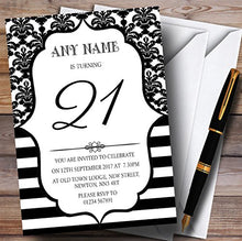 Vintage Damask Black & White 21st Personalized Birthday Party Invitations
