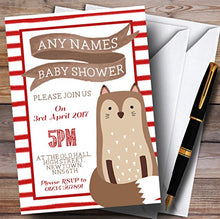 Red Stripes Fox Invitations Baby Shower Invitations