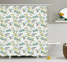 Ambesonne Steam Engine Shower Curtain, Choo Choo Train Kids Boy Pattern Blue Green Number Plate Vint