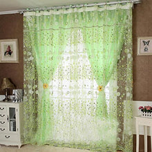 DDLBiz Flower Design Rustic Organza Tulle Fabric Sheer Window Curtains(39.37