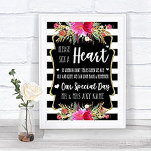 Black & White Stripes Pink Sign a Heart Personalized Wedding Sign