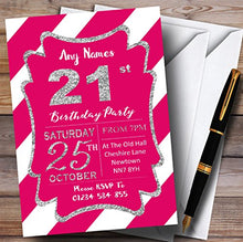 Pink White Diagonal Stripes Silver 21st Personalized Birthday Party Invitations