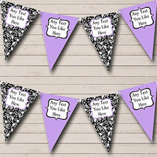 Lilac White Black Damask Personalized Hen Do Night Party Bunting Banner Garland