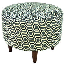 MJL Furniture Designs Sophia Collection Cott Ashton Series Contemporary Round Ottoman, Gray/Tan/Blue