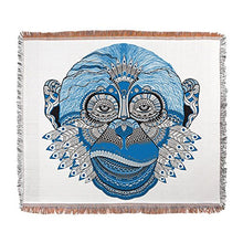 Woven Blanket Chinese New Year Monkey 2016 Lucky Blue