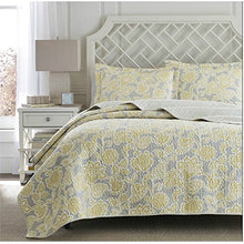 Modern Lightweight Yellow / Gray Floral Design Bedding Coverlet Quilt Set For Contemporary Bedroom -