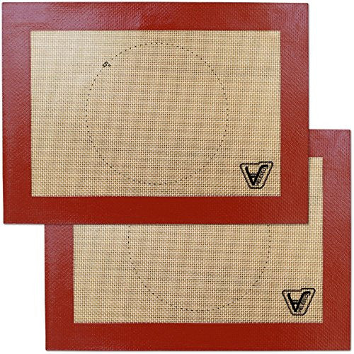 "Velesco Silicone Baking Mat For Toaster Oven   Set Of 2 Mats (Size 7 7/8"" X 10 13/16"")   Non Stick S"