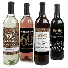 Adult 60th Birthday   Gold   Birthday Party Gift For Women And Men   Wine Bottle Label Stickers   Se