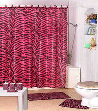 Wpm Shower Curtain Kids Jungle Safari Pink Zebra Design With Decorative Roller Rings/Hooks