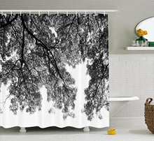 Ambesonne Apartment Decor Shower Curtain, Photograph of Trees from The Ground with Branches and Leaves Art Image, Fabric Bathroom Decor Set with Hooks, 84 Inches Extra Long, Black and White
