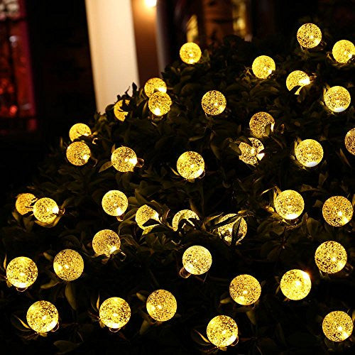 Icicle Waterproof 30 Led Crystal Solar Globe String Lights, Warm White, (20 Feet)