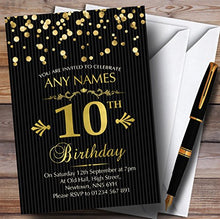 Gold Confetti Black Striped 10th Personalized Birthday Party Invitations