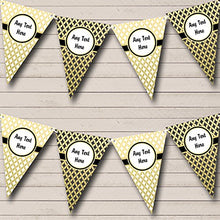 White Black And Gold Personalized Retirement Party Bunting Banner Garland