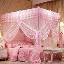 Uozzi Bedding 4 Corners Post Pink Canopy Bed Curtain For Girls & Adults   Cute Cozy Drape Square Net