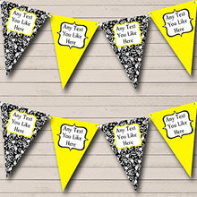 Yellow White Black Damask Shabby Chic Garden Tea Party Bunting Banner