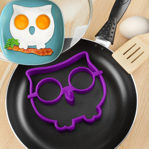 1pcs Random Color Funny Side Up Owl Silicon Egg Mold