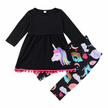 Newborn Kids Girls Unicorn T-shirt Tops Pant 2Pcs Outfits
