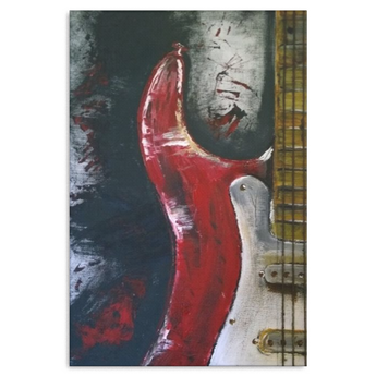 Guitar Abstract Painting Red White