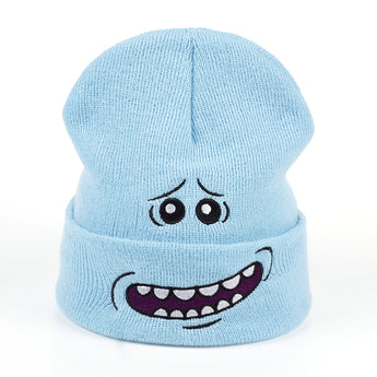 Winter Knitted Hat Rick and Morty Light Blue Beanie Skullies
