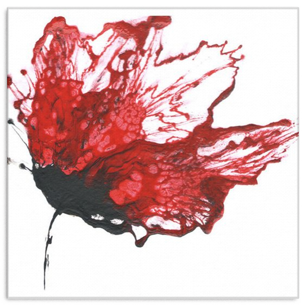 Red Flower Painting Abstract Floral Art Canvas Wrap