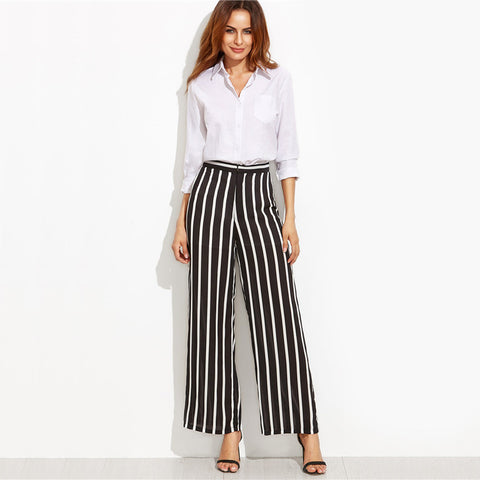 Loose Trousers Elegant Brand Black Vertical Striped High Waist Wide Leg Pants