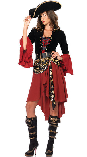 Women Halloween Gothic Caribbean Pirate Cosplay Costume Dress Hat Party Clothes