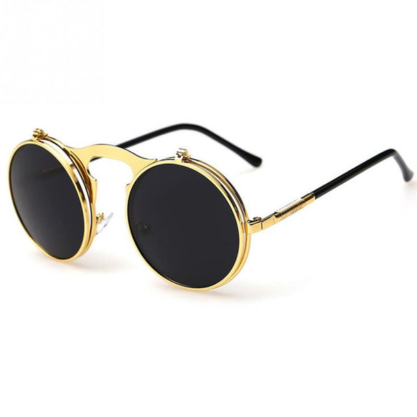 Vintage Round Steampunk Sunglasses Flip Up Lenses