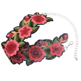Bohemian Boho Printed Flower Choker Steampunk Necklace