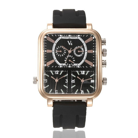 Multiple Time Zone Square Rectangular Quartz Sport Watch