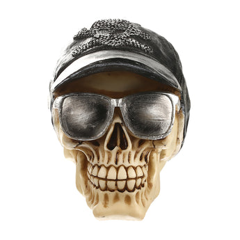 Resin 3D Skull with Cap & Sunglasses Gothic Steampunk Home Decoration