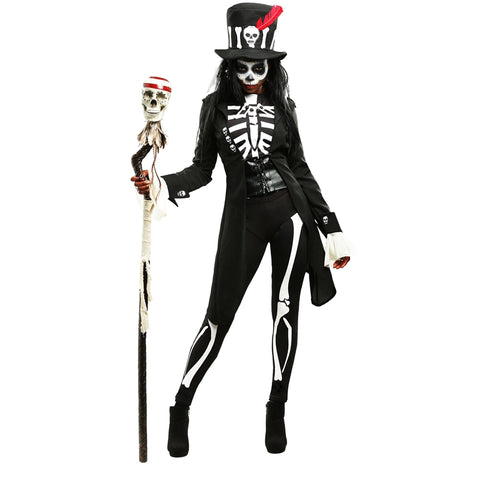 Mystery Voodoo Witch Skeleton Womens Halloween Costume