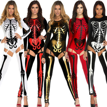 Halloween Party Costume Scary Devil Ghost Cosplay Women Skull Skeleton Costume