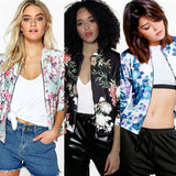 Floral Bomber Jacket Women Flower Coat Boho Chic