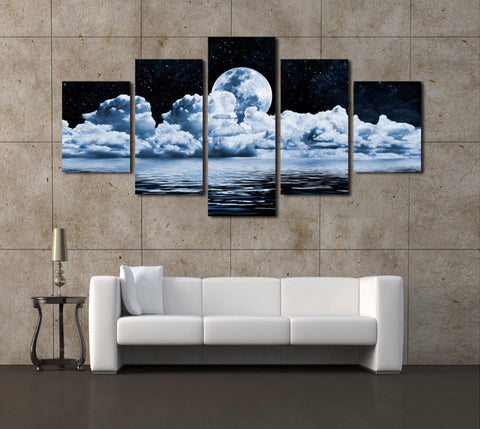 5 Panels Abstract Moon Scenery