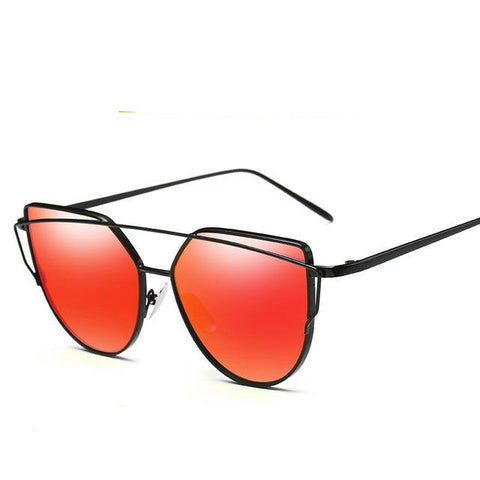 Red Sunglasses Oversize Cat Eye