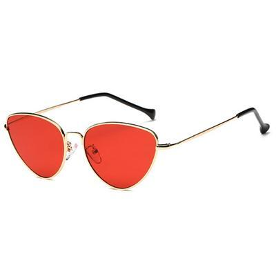 Gold Red Sunglasses Cat Eye