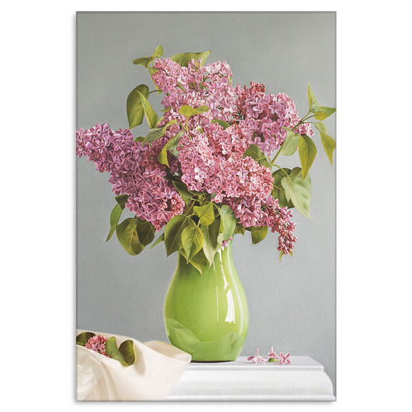 Lilacs In Green Vase Flower Canvas