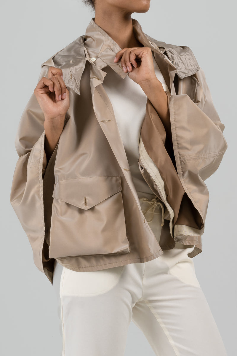 The Audrey Deco Cape - Taupe