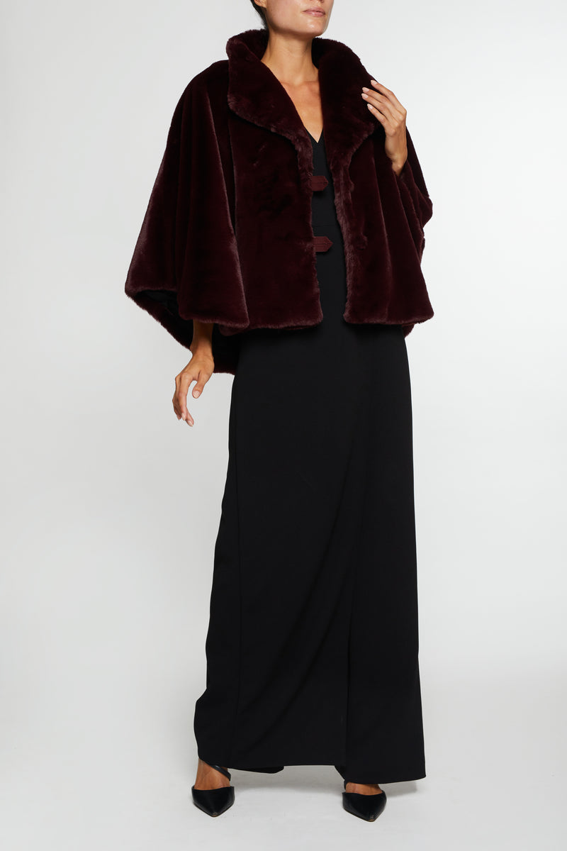 The Sofia Faux Fur Cape - Merlot