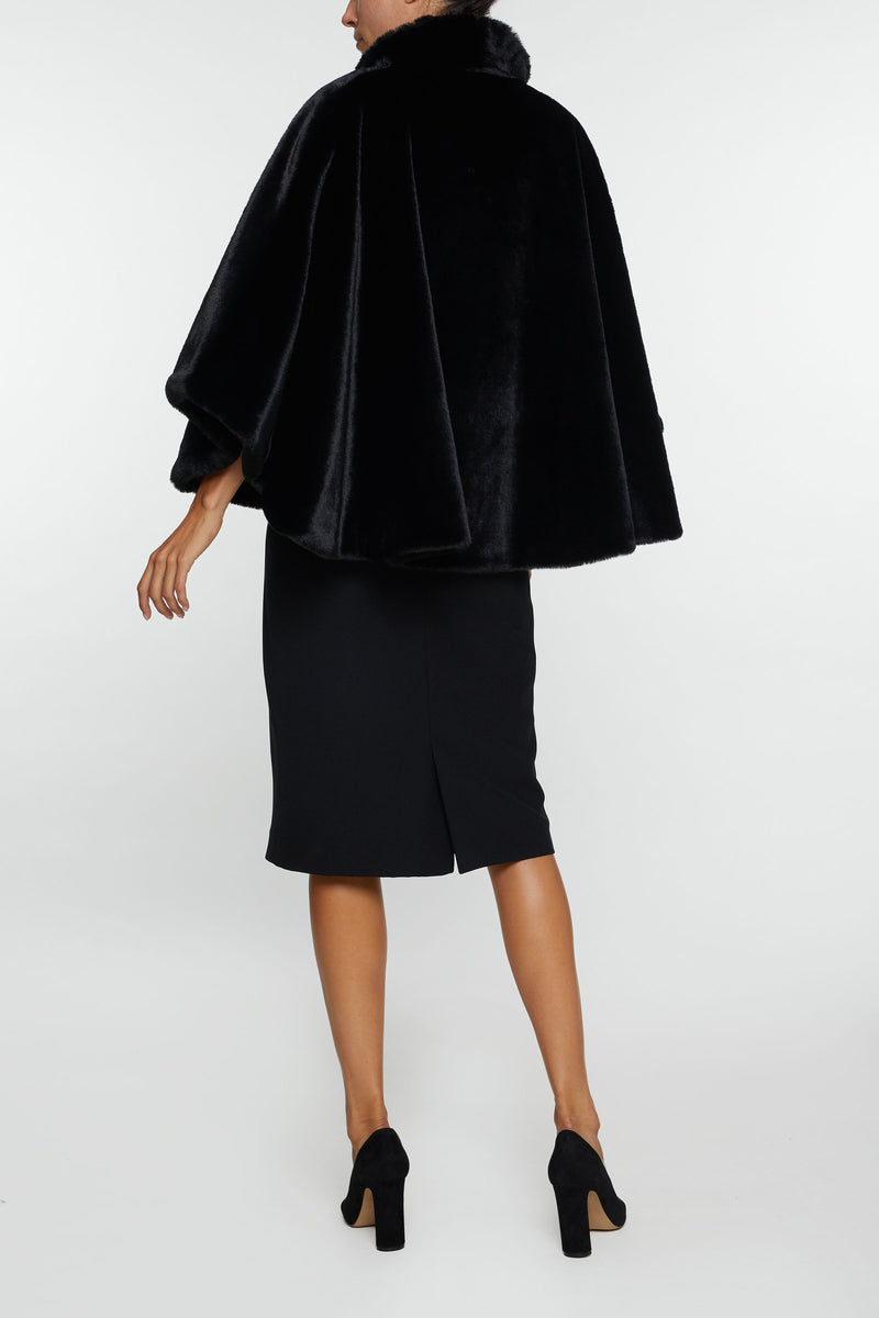 The Sofia Faux Fur Cape - Black