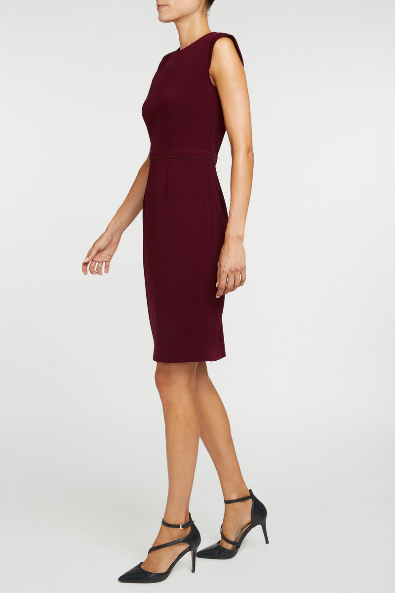 The Alicia Mondrian Dress - Merlot Red