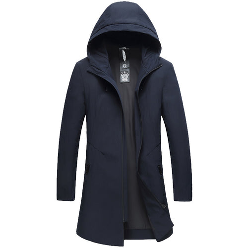 Casual Slim Long Hooded Men's Trench Coat